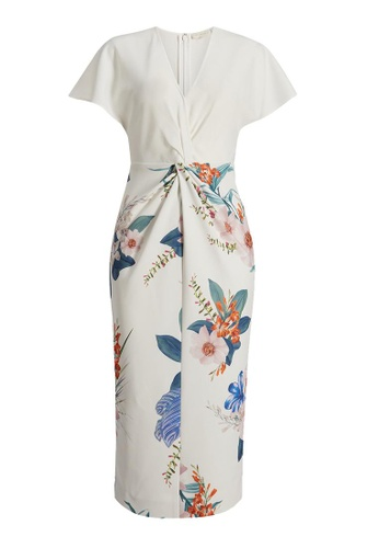 Ted Baker white Ted Baker Nerris Jamboree Twist Detail Midi Dress 7F318AAB3CCCE4GS_1
