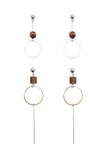 LUCCACAL silver 2 x Geometric Wooden Earrings 2D926ACB101D6BGS_1