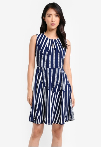 ZALORA blue and navy Pleated Neckline Dress 8DB52AA39BE96BGS_1