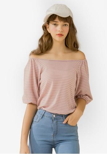 Eyescream pink Off Shoulder Stripe Puff Sleeve Top 8B52BAA3422B95GS_1