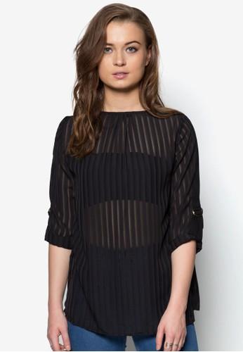 褶飾微透長袖上衣, 服飾, 上zalora時尚購物網的koumi koumi衣