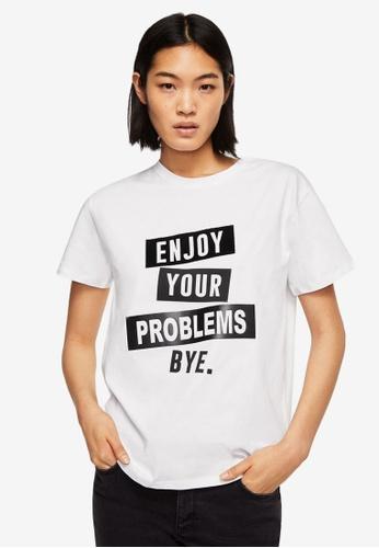 Mango white Printed Text T-Shirt A42A9AA5420554GS_1