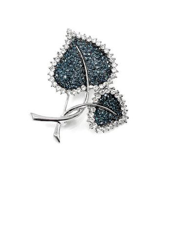 Glamorousky blue Elegant Leaf Brooch with Blue Austrian Element Crystal B1C1EAC1DE893BGS_1