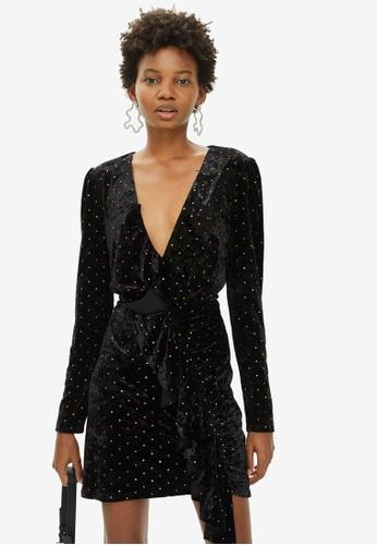7b3dfaadcf0d Buy TOPSHOP Stud Velvet Frill Dress Online on ZALORA Singapore