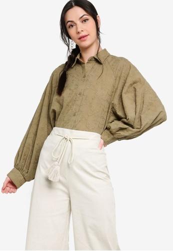 Zalia green Embroidery Batwing Puff Sleeves Shirt B98BAAA7EAF343GS_1