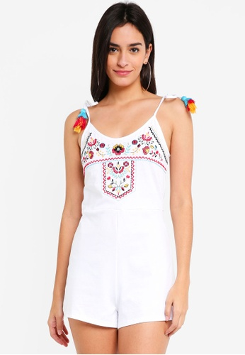 TOPSHOP white Embroidered Jersey Playsuit 73035AA95BA527GS_1