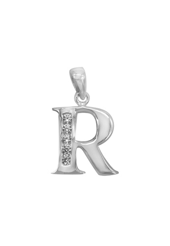 """Silverworks silver Andy Silver Letter """"R"""" Charm with Zirconia Stones 824DFAC855D6BCGS_1"""