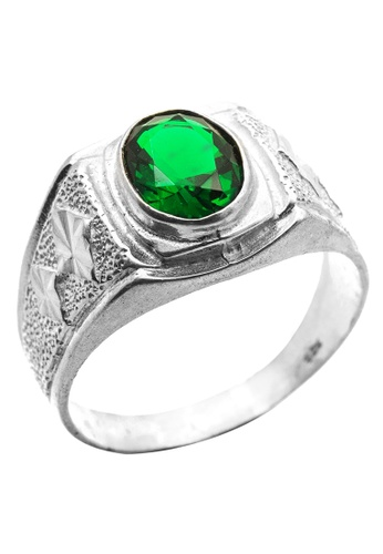 Elfi silver Elfi 925 Genuine Silver Engagement Ring R23 - Green Grandeur EL186AC74FXDMY_1