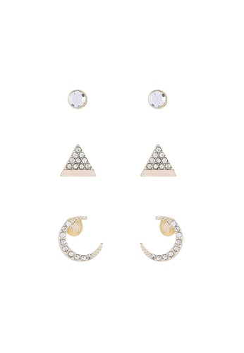 River Island yellow and gold Gold Diamante Earring Pack RI009AC34OORMY_1