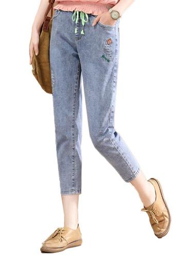 A-IN GIRLS blue Elastic Waist Frayed Jeans 61E46AA8EDF0C2GS_1