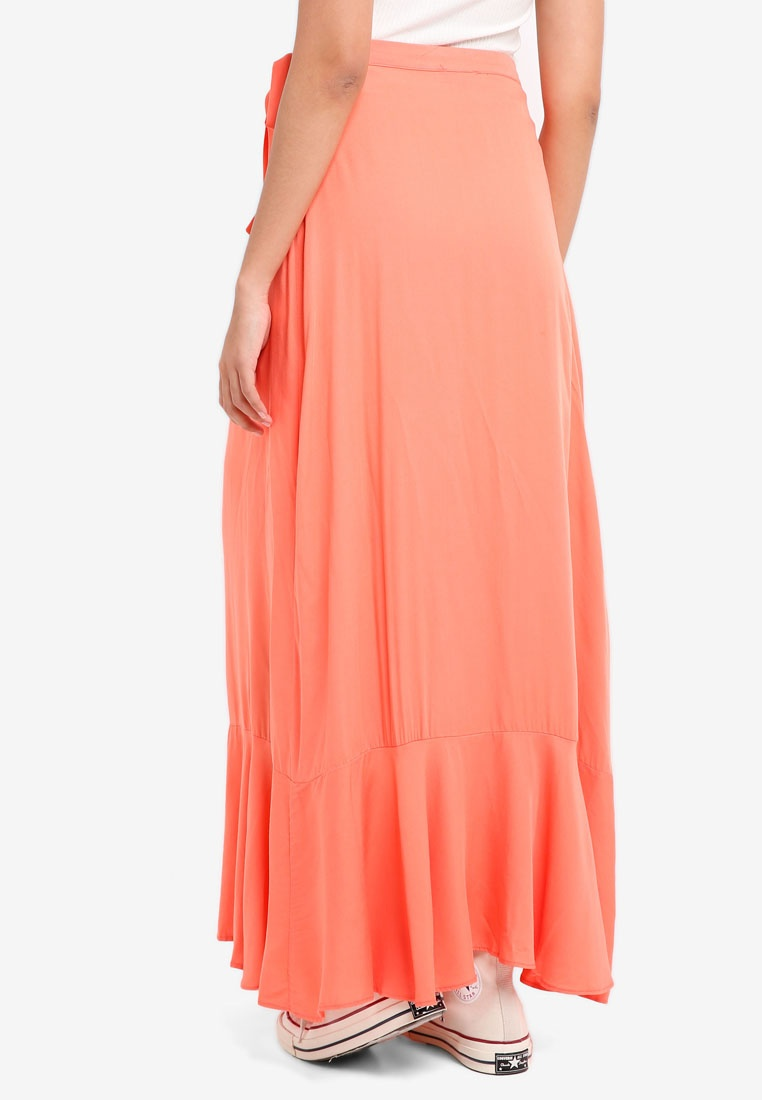 Borrowed Skirt Ruffle Asymmetric Wrap Something Coral Hwzdfxq