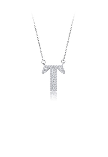 Glamorousky white 925 Sterling Silver Fashion Personality English Alphabet T Cubic Zircon Necklace 4AA1FAC4AD0152GS_1