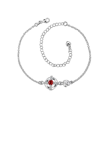 Glamorousky red Popular Hollow Cross Anklet with Red Austrian Element Crystal 8E696ACF3DB184GS_1