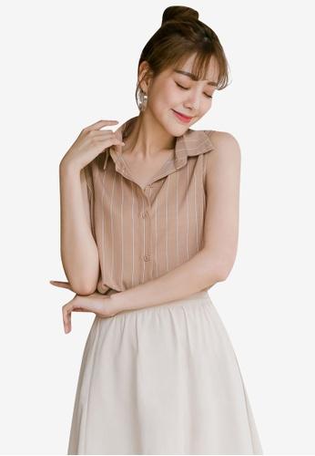 Tokichoi pink Striped Sleeveless Blouse DEE77AAB09029FGS_1