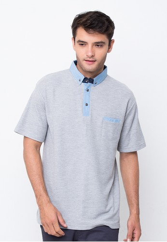 R U S S Keaton Poloshirt Grey with Denim Collar