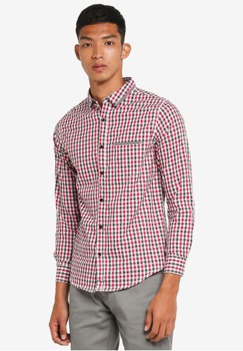 Fidelio 粉紅色 休閒長袖格紋襯衫 D363BAAEC789C0GS_1