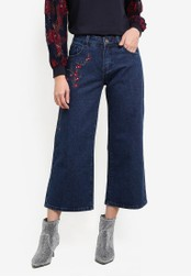 Something Borrowed blue Embroidery Mid Rise Denim Culottes D143FZZBD9F721GS_1