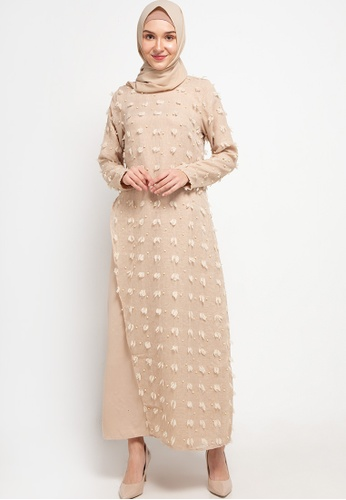 AZZAR brown Jane Maxi Dress in Khaki FEFBCAA6EE6868GS_1
