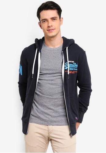 Superdry 海軍藍色 刺繡連帽外套 59666AABFA3814GS_1