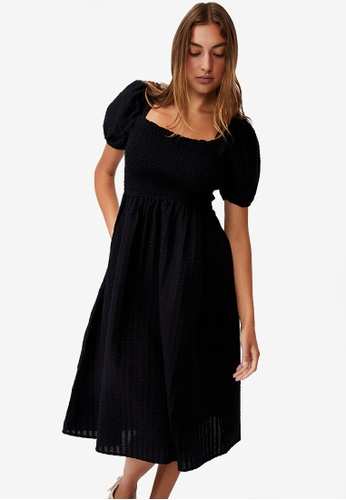 Cotton On black Woven Petite Leah Short Sleeve Midi Dress E40D8AAC980770GS_1