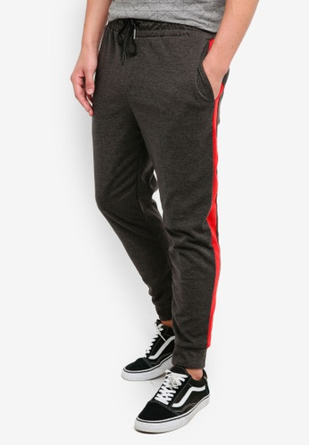 UniqTee 灰色 Jogging Trousers With Side Band C6B4AAAC9F5523GS_1