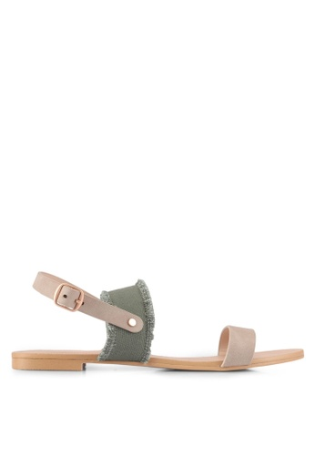 ZALORA grey Canvas Detail Sandals 086B5SH96F7D14GS_1
