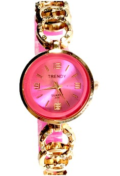 Trendy Round Ladies Watch with Stainless and Silicon Strap