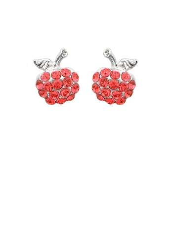 Glamorousky red Glistening Apple Earrings with Red Austrian Element Crystals A86E2ACF097A80GS_1