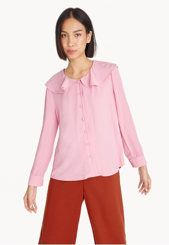 Pomelo pink Frill Collar Button Up Blouse - Pink F59F3AA631B758GS_1