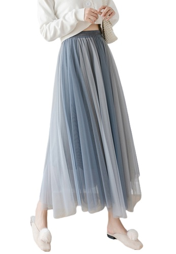Halo grey and blue Layered Net Yarn Skirt 7504CAA6ABE337GS_1