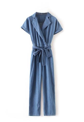 Sunnydaysweety blue 2017 Blue Denim Short Sleeves Long Jumpsuit C073116 SU219AA0H9G5SG_1