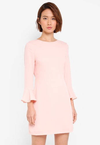 ZALORA pink Shift Dress With Fluted Sleeve C085AAAB9F4301GS_1