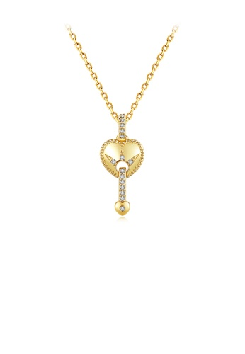 Glamorousky white Fashion and Romantic Plated Gold Heart Pendant with Cubic Zirconia and Necklace A5588AC5ACB25AGS_1