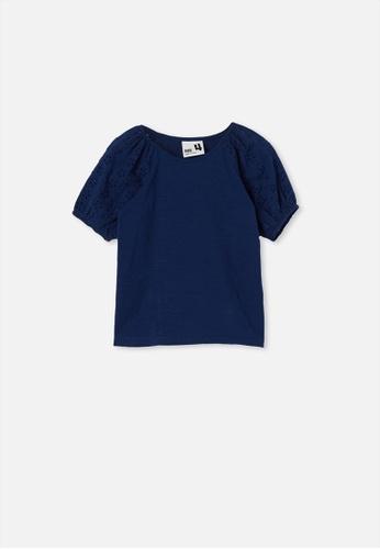 Cotton On Kids blue Isabella Puff Sleeve Top A5B9BKA32CB3D3GS_1
