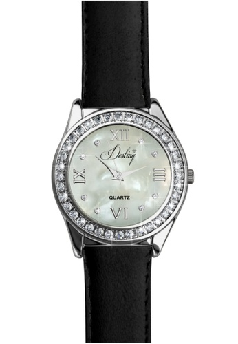 Her Jewellery black Destiny Leather Watch (Black) -  Embellished with Crystals from Swarovski® 7EA3CAC6A4DBBEGS_1