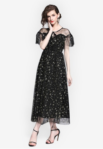 Sunnydaysweety black Star Patterned A-line Skirt A5659AA0546A05GS_1