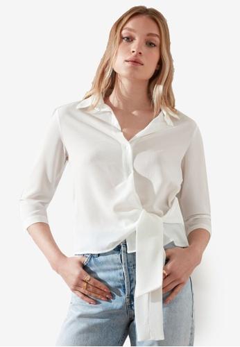 Trendyol white Side Tie Sash Detail Shirt 4DF1EAAF1E04FEGS_1