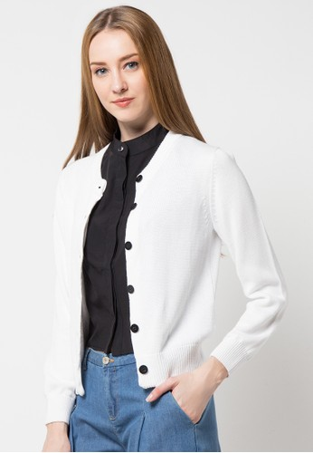 Noir Sur Blanc white Ladies Cardigan With Button NO321AA68DNRID_1
