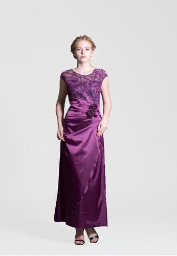 花朵蕾絲拼接緞面放射摺子長禮服, 服飾,esprit女裝 晚宴禮服