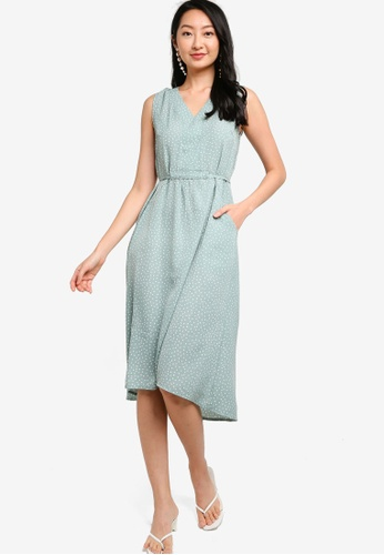 ZALORA BASICS green and multi V-Neck Drawstring Dress 98E7EAAE9DBA90GS_1