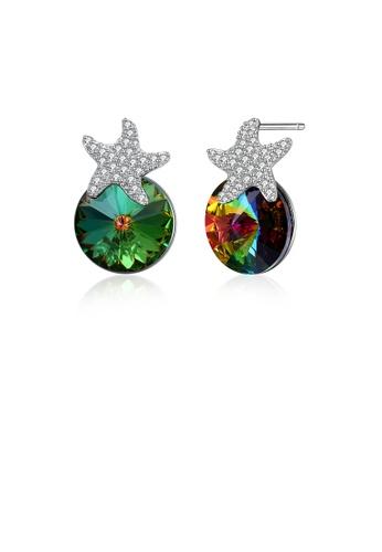 Glamorousky green 925 Sterling Silver Fashion Star Green Austrian Crystal Element Stud Earrings FBD64AC067F625GS_1