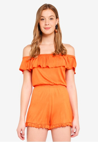 Miss Selfridge orange Jersey Bardot Playsuit Orange CCE22AA3D0855FGS_1