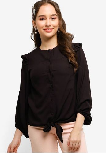 Lubna black Bishop Sleeve Top Made From TENCEL 9CE4EAAC3638A0GS_1