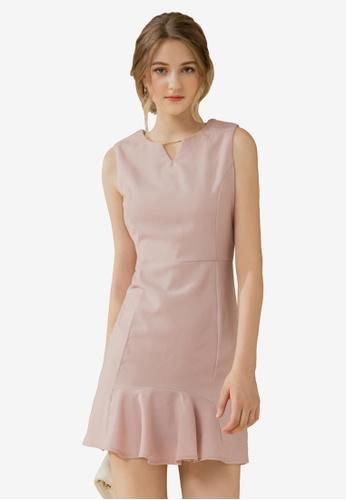 Eyescream pink Flare Hem Fitted Dress 4D1D8AA31D6090GS_1