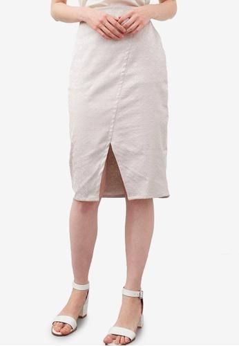 Berrybenka brown Halfrida Cross Skirt 3D644AA3B37735GS_1