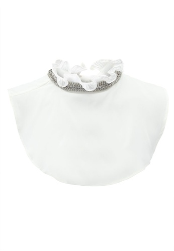 River Island white Ruffle High Neck Embellished Collar Bib RI009AC0T19WMY_1