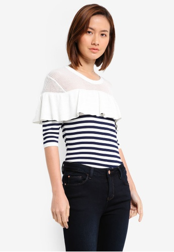 ZALORA white Mesh Yoke Striped Ruffle Top 7FE2DAA0842F47GS_1