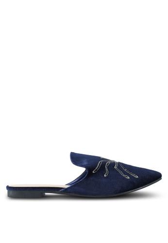 Nose 海軍藍色 Velvet Slip On Mules 1FA57SH162DD63GS_1