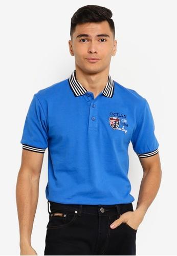 Fidelio blue Ocean Embroidery Lining Collar Polo Shirt EFB3CAA1774275GS_1