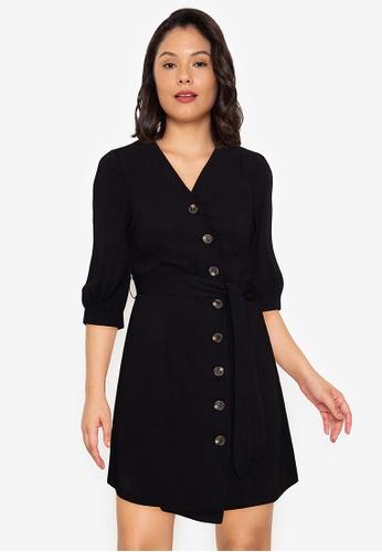 ZALORA WORK black Puff Sleeve Wrap Dress B87BBAAFAB87CCGS_1